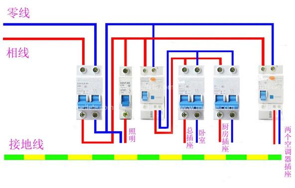 两极空气开关接线图,家用空气断路器怎么接线