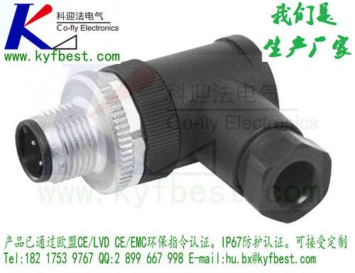 M12自由组装式插头(公头)90°  产品说明:  用于传感器、I/O连接,标准M12螺纹连接,针端接口,3芯,4芯,5芯,6芯,9芯,12芯可选,IP67防护等级。  产品特点:  螺钉拧紧触点接线,快速灵活。  1、可根据现场需求自行配线接线。  2、支持I/O、ProfiBUS、DeviceNET、Mudbus、CANopen、EtherNET/IP等总线协议信号传输。  3、IP65防护等级。  4、使用电缆范围2mm~8mm     物料:  3针:KYF12J3WT-NC(4-6)  4针:KYF12J4WT-NC(4-6)  5针:KYF12J5WT-NC(4-6)  6针:KYF12J6WT-NC(4-6)  8针:KYF12J8WT-NC(4-6)  12针:KYF12J12WT-NC(4-6)  17针:KYF12J17WT-NC(4-6)