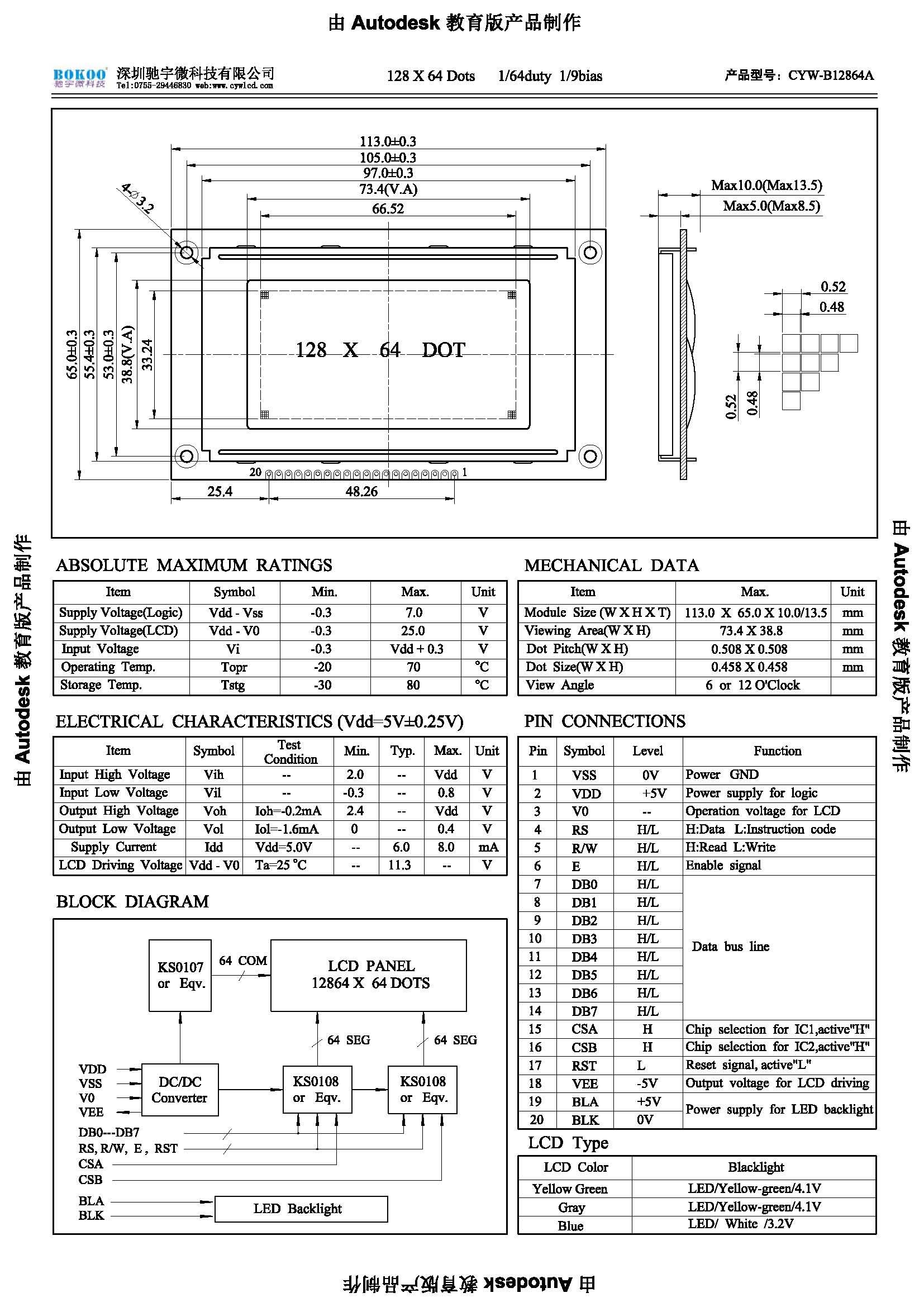 cyw-b 12864a 12864液晶显示模块